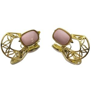Trifari Pink Gold Tone Clip-On Statement Earrings